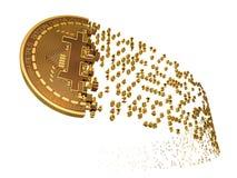 Bitcoin tombant en morceaux aux chiffres Image stock