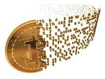 Bitcoin tombant en morceaux aux chiffres sur le blanc photographie stock