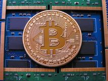 Bitcoin and ram memory Royalty Free Stock Photography