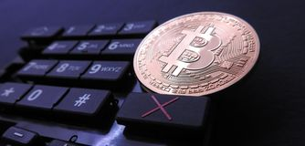 Bitcoin on numeric keyboard Royalty Free Stock Photography