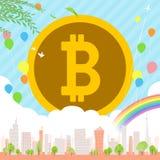 Bitcoin Townscape后面图象illustration_balloon &彩虹 库存图片