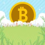 Bitcoin Townscape后面图象illustration_green正方形 库存图片