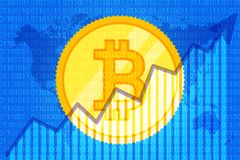Bitcoin Trade cryptocurrency. growth graph on code background for news. Chart up. Vector vector illustration