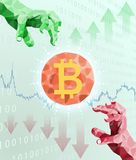 Bitcoin trading and price fluctuations. Financial concept Royalty Free Stock Photos