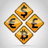 Bitcoin traffic board. Euro, Dolar, Font, Pound, Bitcoin traffic board on light background Stock Images