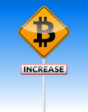 Bitcoin traffic board. With increase text on sky background Royalty Free Stock Photo