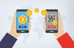 Free Bitcoin Transaction Via Smartphones And QR Codes Stock Photos - 107143793