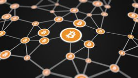 Bitcoin transactions model, 3d rendering background. The bitcoin transactions model, 3D Royalty Free Stock Photography
