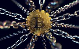 Free Bitcoin Trapped With Chains - As Governments Try To Ban It. 3D Rendering Royalty Free Stock Photos - 114011228