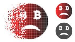 Bitcoin triste di semitono punteggiato polvere Smiley Icon Illustrazione di Stock