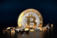 Bitcoin trzask, łamany Bitcoin ilustracji