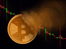 Bitcoin turns to dust. Golden cryptocurrency coin - bitcoin turns to dust, cryptocurrency falling concept, realistic 3d illustration stock image