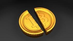 Bitcoin in twee wordt verdeeld die het 3d teruggeven Stock Foto
