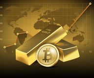 Bitcoin and two Gold bars on dark background. Concept of growth of the cryptocurrency in financial world. Banking business.illustration Royalty Free Stock Photos