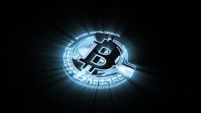 Bitcoin ukuwa nazwę budynek od lekkiej dyrygentura śladów 3D animaci z alfa matte zbiory