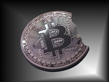 Bitcoin un pedazo de una mordedura Imagen de archivo