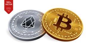 Bitcoin und EOS isometrische körperliche Münzen 3D Digital-Währung Cryptocurrency Silbermünze mit EOS-Symbol und golden Lizenzfreies Stockfoto