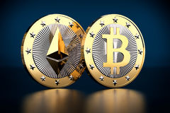 Bitcoin und Ethereum - virtuelles Geld Lizenzfreies Stockbild