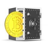 Bitcoin und Safe auf weißem Hintergrund Lokalisierte Illustration 3d Stockfoto
