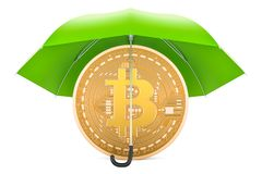 Bitcoin under green umbrella, protection and safety concept. 3D. Rendering isolated on white background Royalty Free Stock Images