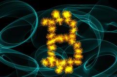 Bitcoin unterzeichnen vorbei Schwarzes Lizenzfreies Stockfoto