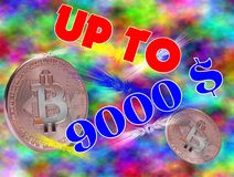 Bitcoin up  to 9000 dollar Stock Photography