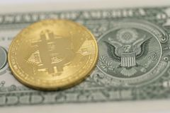 Bitcoin and US Dollar royalty free stock photo