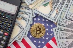 Bitcoin, us flag, calculator and dollar. Banknotes royalty free stock photo