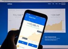 Bitcoin USD pris på den Coinbase androiden app arkivbild
