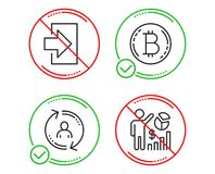 Bitcoin, User info and Login icons set. Seo statistics sign. Cryptocurrency coin, Update profile, Sign in. Vector vector illustration