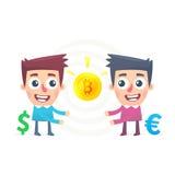 Bitcoin utbyte royaltyfri illustrationer
