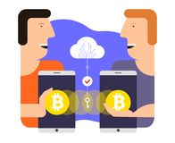 Bitcoin utbyte och överföring Illustration för Cryptocurrency teknologibegrepp royaltyfri fotografi