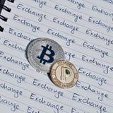 Bitcoin utbytesbegrepp royaltyfri foto