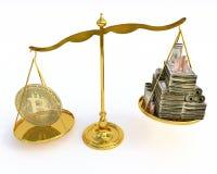 Bitcoin värde på en skala arkivbild