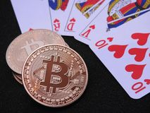 Bitcoin vågspel Arkivfoto