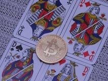 Bitcoin vågspel och fyra av en sort Royaltyfria Foton