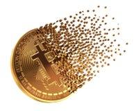 Bitcoin va in pezzi ai pixel Fotografia Stock Libera da Diritti