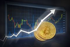 Bitcoin with value increase white arrow and candlestick charts with three bitcoins. Bitcoin with value increase white arrow and candlestick charts. Copyspace stock image