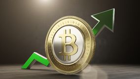 Bitcoin value rising up. 3D render Stock Photo
