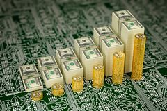 Bitcoin Value soars - Bitcoins and Dollars Bills stacked as charts - 3D Rendering Stock Photos