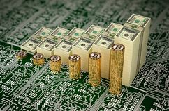 Bitcoin Value soars - Bitcoins and Dollars Bills stacked as charts - 3D Rendering Stock Photography