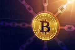 Bitcoin Valuta cripto Catena di blocco moneta fisica isometrica di 3D Bitcoin con la catena del wireframe Concetto di Blockchain  Fotografia Stock Libera da Diritti