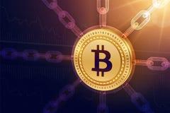 Bitcoin Valuta cripto Catena di blocco moneta fisica isometrica di 3D Bitcoin con la catena del wireframe Concetto di Blockchain  Fotografia Stock