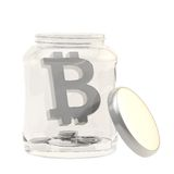 Bitcoin valuta undertecknar in en glass krus Royaltyfria Bilder
