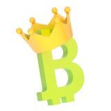 Bitcoin valuta undertecknar in en krona Fotografering för Bildbyråer