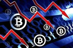 Bitcoin valutakris - begreppsbakgrundsillustration Arkivfoton