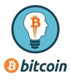 Bitcoin valutasymbol i en ljus kula Royaltyfri Bild