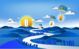 Bitcoin valutasymbol och affärsdesign Bitcoin kommer till t Fotografering för Bildbyråer