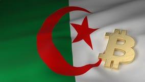 Bitcoin valutasymbol på flagga av Algeriet Fotografering för Bildbyråer