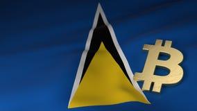 Bitcoin valutasymbol på flagga av St Lucia vektor illustrationer